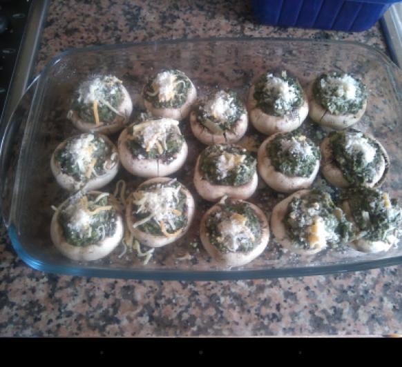Champiñones con espinacas