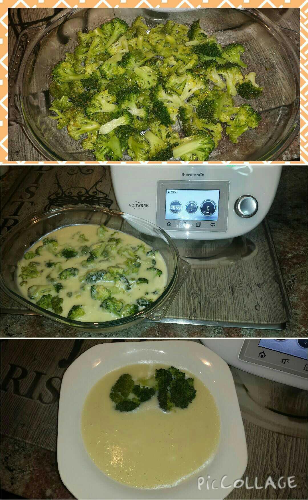 Brócoli al vapor sobre crema de puerros al aroma de berberechos