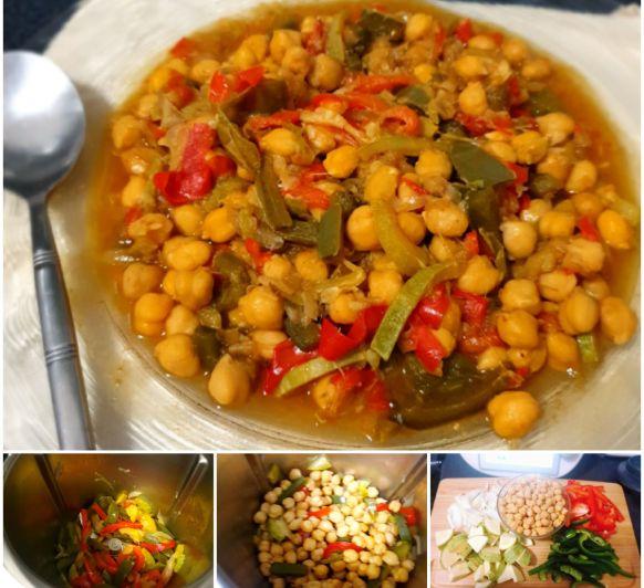 Garbanzos con verduras y salsa de soja
