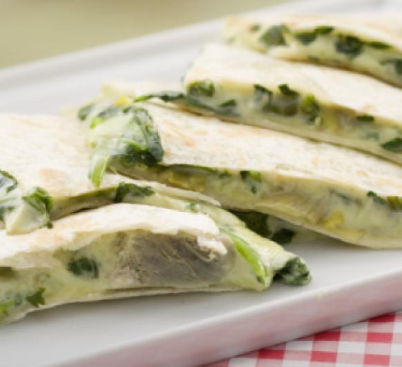 Y para cenar unas Quesadillas de espinacas y alcachofas con Thermomix®