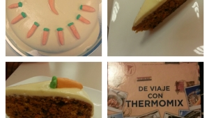 Tarta de zanahoria y nueces con cobertura de queso crema con Thermomix®